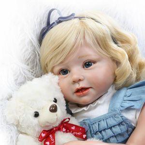 """Poupées de bébé de filles réalistes en silicone souple pour bébés en bas âge 28 """"(70cm) jouets pour bébés enfants avec des cheveux blonds"""