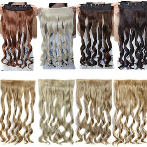 Clip nelle estensioni dei capelli Coda di cavallo Pezzi di capelli sintetici Loose Wave Wavy 5clips Clip da 22 pollici 120g sulle estensioni dei capelli stile fashion