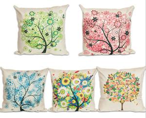 19 Renkler Kırsal Minimalist Tarzı Karikatür Yastık Ağacı Çiçek Yastık Kılıfı Dekoratif Keten Pamuk Yastık Kapakları Kapakları