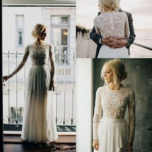 Урожай полный Вышивка бисером богемный страна свадебные платья с длинным рукавом 2018 шифон Boho жемчуг назад свадьба Birdal платье