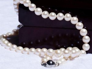 Elegant natural 10-11mm Akoya white pearl necklace 18inch 925 silver clasp