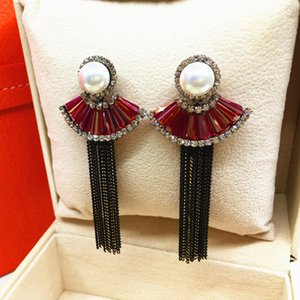 Europe and the United States all-match Korean wind ladies Handmade Beaded Crystal Earrings imported high-quality clothing