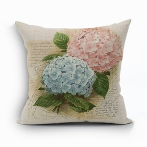 vintage european cushion cover pink flower pillowcase floral home decor cojines elegant vase tulip almofada for sofa