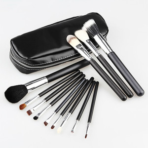 High Quality 12 Pcs Makeup Brushes Set Goat Horse Hair Silver Tube Black Handle with Zipper Leather Bag Makeup Tools