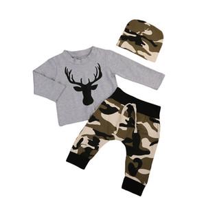 Mikrdoo 2017 Christmas Baby abiti grigi Deer T Shirt Camouflage pantaloni lunghi set Cappello 3pcs bambini delle ragazze dei ragazzi del cotone di qualità vestiti di alta Outfits