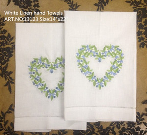 "Inicio Textiles 12 unids / lote 14x22 ""Lino blanco Linags Handkerchief Hermoso corazón bordado One Hemstithered Edges Toalla de invitado Toalla de la mano"