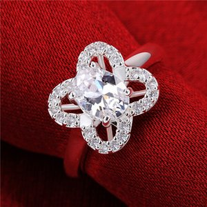 925 silver rings Insets four-leaf flower GSSR647 Factory direct sale sterling silver plated finger ring