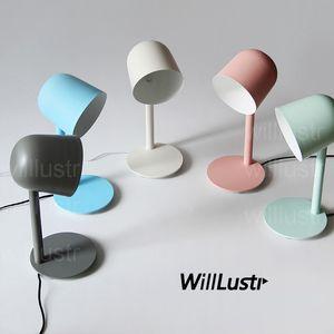 Willlustr nueva lámpara de mesa de luz de lectura de hierro lámpara de mesa de estudio escritorio escritorio oficina hotel Macaron color rosa blanco verde azul