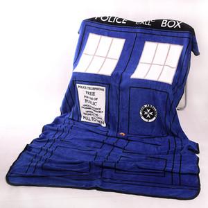 닥터 코스프레 TARDIS 경찰 상자 블루 소프트 웜 플러시 산호 양털 던지기 침대 담요 카펫 카펫 할로윈 액세서리