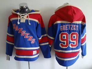 Üst kalite ! Eski Zaman Hokey Formaları New York Rangers # 99 Wayne Gretzky Mavi, Koyu Mavi Hoodie Kazak Spor Tişörtü Kış Ceket
