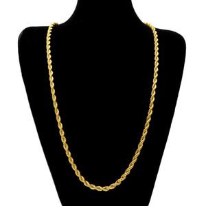 6.5mm de espesor 75cm de cuerda larga Cadena retorcida Oro plateado Hip hop Collar retorcido pesado para hombres mujeres