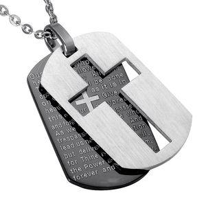 Kreuz Halsketten Anhänger Christian Schmuck Bibel Herren Gebet Dog Tags Gold Farbe Edelstahl Weihnachtsgeschenk für Männer