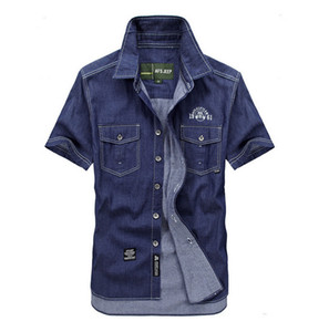 Wholesale-Outdoor  plus Size fertilizer Summer Men 100% Cotton travelDenim hiking Dress Shirt Casual cowboy thin Short Sleeve Shirts