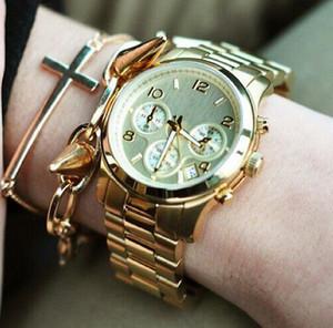 유명 브랜드 M 손목 시계 일본 골드 무브먼트 M 클래식 메탈 시계 + 남성용 여성 골드 스테인레스 스틸 브랜드 시계를 사용할 수있는 4 가지 색상