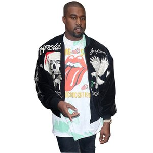 Dropshipping 2017 New Spring Streetwear Black Embroidery Kanye West Giacca bomber da uomo