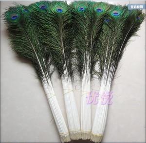 Venta al por mayor 100 unids / lote 10-44 pulgadas / 25-110cm hermosas plumas de pavo real natural de alta calidad ojos para la decoración de ropa DIY Boda