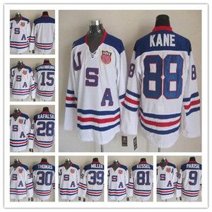 2010 Team USA Hockey Jerseys أولمبيك 9 زاك باريز 88 باتريك كين 81 فيل كيسيل 28 براين رافالسكي 39 ميلر 15 لانغنبرونر