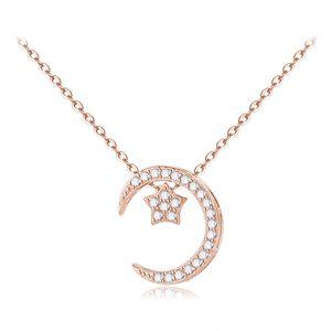 Attraente Bello 925 luna signore in argento e collana stella jewerly per l'amante timbrati 925