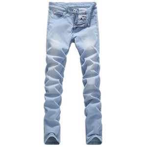Venta al por mayor-2016 nueva llegada Bleach Lavado Denim Jeans Ocio Pies Stretch Jean Plus Tamaño 28-36 Hombres Pantalones