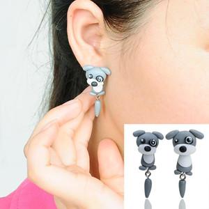 Boucles d'oreilles chien New Womens Bijoux Accessoires 925 Sterling Silver Earring Stud Main fait à la main animal grand petit yeux gris chien Polymer Clay Boucles d'oreilles