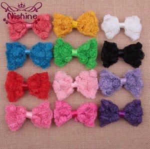"""Nishine 3.2 """"Tissu tulle en treillis arc de Rosset pour coiffe de chewear Chiffion Rose Flower Bows pour accessoires de pinces de cheveux pour enfants DIY"""