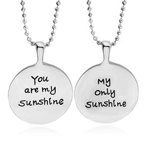 """Fashion Silver """"Du bist mein Sonnenschein mein einziger Sonnenschein"""" Halskette Liebhaber Anhänger Großhandelspreis Schmucksachen der Frauen"""
