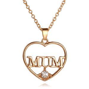 Fête des Mères Cadeau Amour MOM Coeur Pendentif 18 K Réel Plaqué Or Strass Colliers Pendentifs Bijoux Pour Femmes