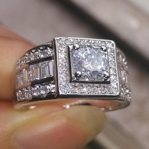 Vintage SZ8 9 10 11 12 13 Luxury jewelry Brand 10kt white gold filled white topaz Round cut wedding Engagement men Band ring for love gift
