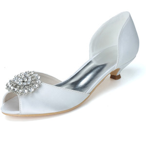 0700-03 Simple Rhinestone Crystal Fashion Low Heel Wedding Dresses Peep Toe For Women Party Prom Evening Occasion Shoes High Quality