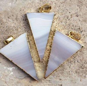 HOT DIY 5pcs plaqué or couleur blanche trigon Agate Druzy Geode pendentif, Drusy Crystal bijou connecteur de pierre Perles, résultats de bijoux