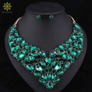 5 Farben Mode Trendy Nigerianischen Hochzeits Afrikanische Perlen Schmuck Sets Kristall Halskette Set Party Hochzeit Dubai Schmuck-Set