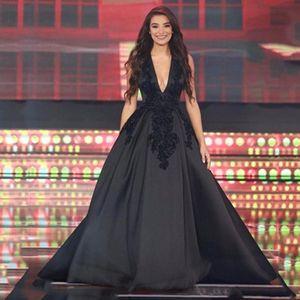 Seksi 2017 Basit Yeni Akşam giymek Elbiseler Siyah Derin V Boyun Dantel Aplikler Kristal Boncuklu Aç Geri Saten Artı Boyutu Parti Balo Abiye
