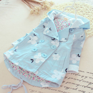 New Girl Spring Jacket Kids Jackets for Girls Clothes Cotton Floral Casual Hooded Coat Children Clothing 2-5Year