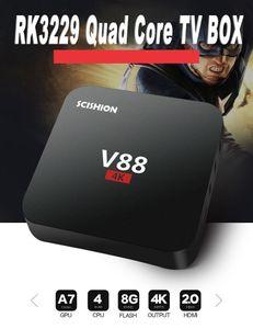 V88 4K Boîte TV Smart TV Rockchip 3229 Quad Core H.265 1GB DDR3 RAM 8GB EMMC ROM Mini PC Android7.1 Ensemble de dessus