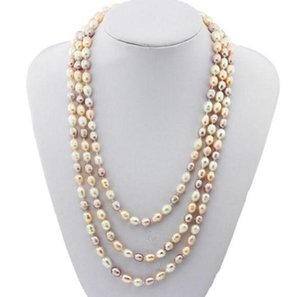 7-8mm White Pink Purple Mixed Color Rice Shape Natural Pearl Necklace 54inch Single Strand