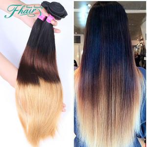 Завод Outlet 7A бразильский Ombre прямые наращивание волос 3 пучки 1B/4/27 Ombre 3 тон цвет волос прямая Бесплатная доставка DHL