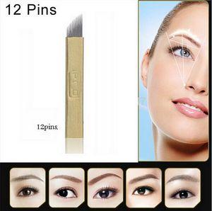 50 PCS PCD 12-Pin Maquillaje permanente cejas agujas de tatuaje hoja para Microblading Pen