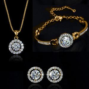 Nueva moda 18K chapado en oro collar de cristal austriaco pulsera pendientes conjunto de joyas hecho con warovski elemtns joyería de boda 3 unids / set