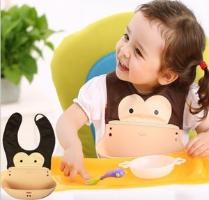 silicone Baby Bibs Cartoon baby feeding Animal Infant Baby Bibs 3 Layers Infant Saliva Towels Baby Burp Cloths SDF008