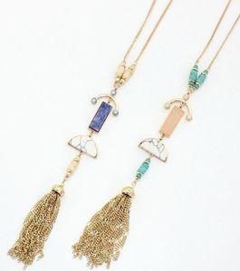 Multi pedras semi colar de pingente de borla pedra natural mosaico de jóias longo borla luxuoso rolo talão chifre colar delicado design