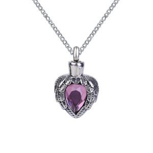 Collar de la urna Purple Birthstone Ala Colgante del corazón Memorial Ash Keepsake Joyería de la cremación Acero inoxidable con bolsa de regalo y cadena