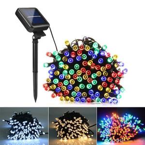 Güneş Lambaları LED Dize Işıklar 100/200 LEDS Açık Peri Tatil Noel Partisi Garlands Güneş Çim Bahçe Işıkları Su Geçirmez