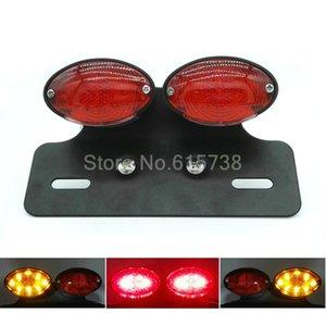 Moto Feux moto Feu arrière double Cat Eye plaque d'immatriculation personnalisée chorme Titulaire rouge