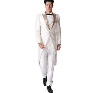 Costume de soirée haut de gamme, smoking, blanc, monsieur élégant, marié, costumes formels, costume à quatre pièces, costume 3 pièces (veste + pantalon + gilet + cravate)