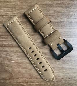 Ocysa marrón negro Crazy Horse cuero relojes genuinos correa correa de reloj ocy002 24mm 26mm aptos para pam