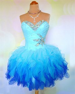 Newest Sexy Mini Homecoming Dresses 2019 Sweetheart Organza Beaded Crystal Lace Up Short Prom Cocktail Graduation Gown Stock QC228