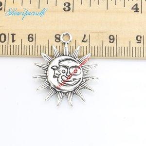 8 pçs / lote antigo banhado a prata lua sol encantos pingentes para colar de jóias fazendo diy handmade artesanato 28x24mm