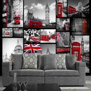 3D телевизор диван фон стены гостиной фрески бесшовные стены ткань ретро ностальгические Англия черно-белое здание фото обои