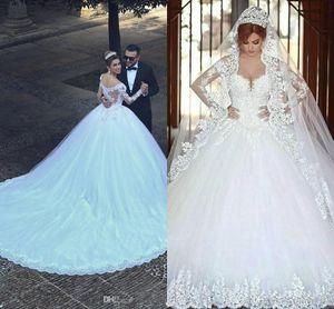 Ball Gown Lace Wedding Dresses 2019 Long Sleeve Transparent Winter Style Custom Princess Bridal Vestido De Novia High Quality Tulle