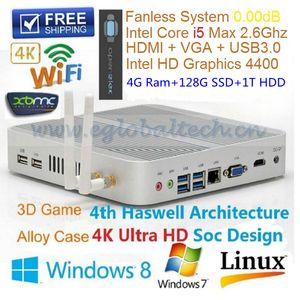 Intel Core i5 4200U безвентиляторный мини-компьютер ПК ОС Windows 4GB Ram 128GB SSD емкостью 1 Тб HDD HDMI USB3.0 Haswell Тонкий клиент HTPC